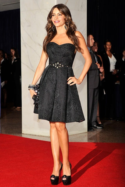 Sofia Vergara looked classy and cute in this simple black David Meister dress.Sofia Vergara, White Houses, Fashion, Red Carpets, House Correspondence, David Champion, 2012 White, Little Black Dresses, The Dresses