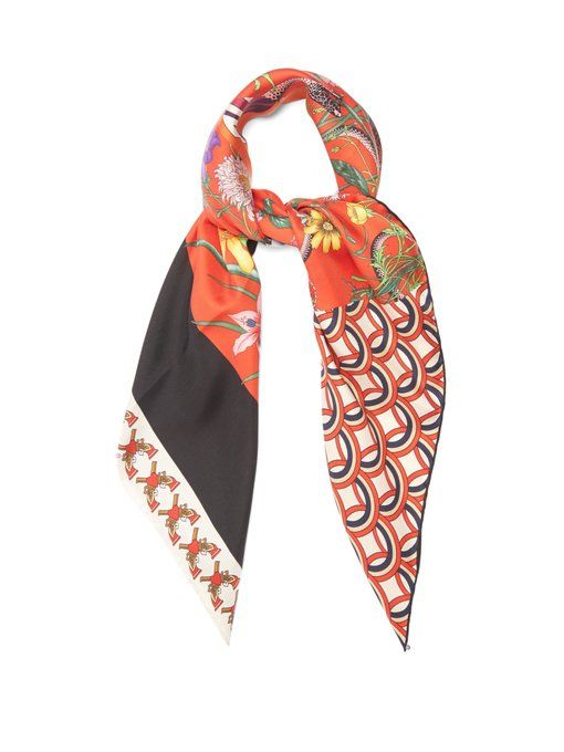 beb5e917d1be Gucci Patchwork-print silk-twill scarf