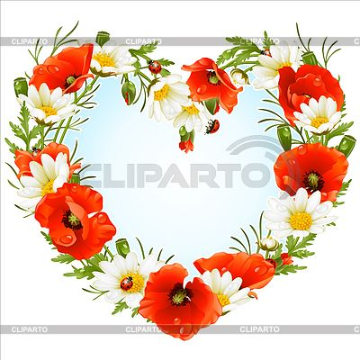 Цветочная рамка-сердечко - маки и ромашки | Векторный клипарт | ID 3222920