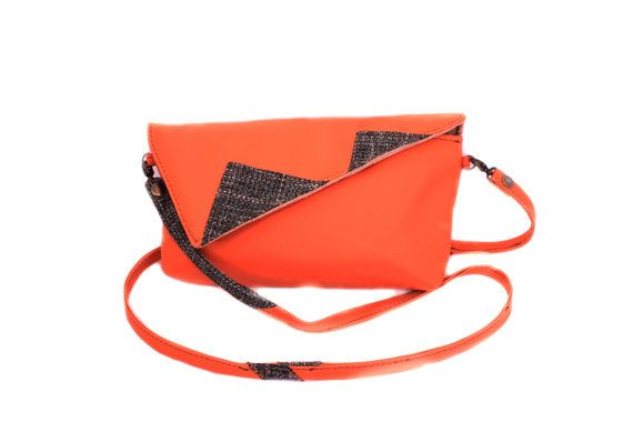 Orange clutch bag Custom clutch Credit card bag by meerrorart