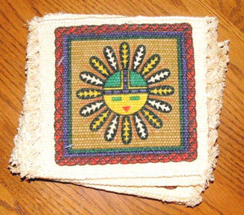 """A set of 6 Sunface design coasters. Printed on thickly woven canvas. 6x6"""" with fringed ends. DEAL Just 9.95 w/ free shipping w/in the USA!  Sunface placemats to compliment in our ebay store. #coasters #southwestern #sunface #nativeamerican"""