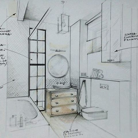 """157 Likes, 5 Comments - interior designer (@pe2_magdalena_sobula) on Instagram: """"Illustration of the bathroom for my clients…"""""""