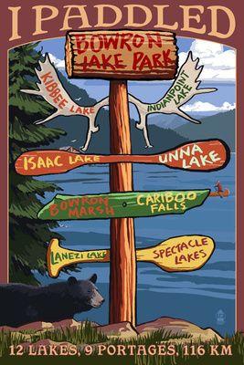Bowron Lake Park, BC - Sign Destinations - Lantern Press Poster