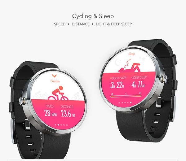 The health & fitness tracker app for Android Wear tracks Heart Rate, Calories Burned, Running & Jogging, Swimming, Cycling, and Sleep.