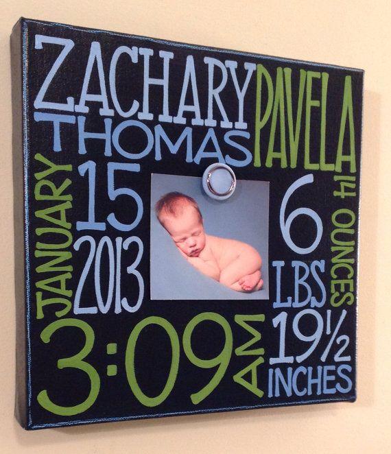 Baby birth information canvas frame 10x10 by NatalieKingArt