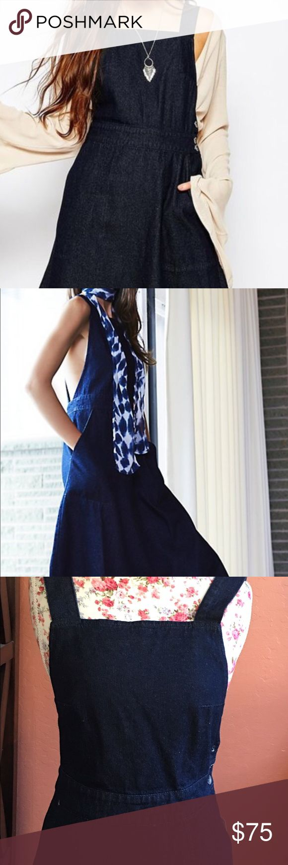 Free People Denim Apron Midi Dress Super cute and stylish apron dress with daring crisscross back. It has a square neckline, zipper closure, 2 pockets at front and with an A line silhouette. This is a dark blue wash color. This could be perfect for work or play. Free People Dresses Midi