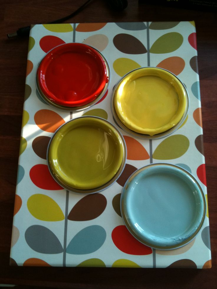 I am refurbishing our dining chairs. The chairs are from the 1950s and so I want to play up to their 'vintage' style. I have chosen a palette inspired by an Orla Kiely pattern.
