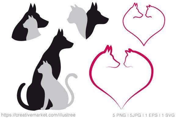 Cat And Dog Vector Set Cat Doodle Digital Clip Art Set Dog Vector
