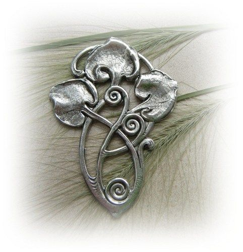 1 - Art Deco Lily Pads Motif Silver Ox Brass Jewelry Finding - Brass Stamping (F) | TheCharmShoppe - Jewelry Supplies on