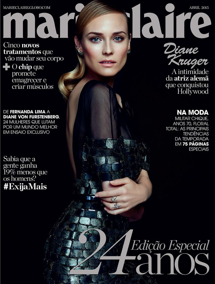 Diane Kruger in the April issue of Marie Claire Brazil with H.Stern jewelry