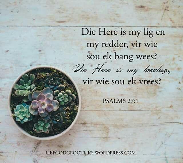 PSALMS 27:1 Die Here is my lig en my redder, vir wie sou ek bang wees? Die Here is my toevlug, vir wie sou ek vrees?  Die Here is ons lig en ons redding #LiefGodGrootliks