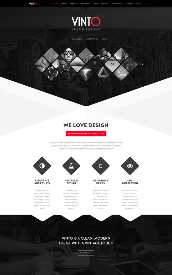 Vinto-One-Page-Parallax-Responsive-Template