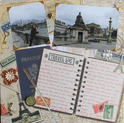 "Travel scrapbook page ...Idea: use a journal like the ""travel log"" pictured that you find on your trip and then scrap book pictures into the journal. Smaller but not mini multimedia scrapbook."