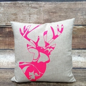 Linen Cushion Cover.Oatmeal. Neon Pink Patterned Tree