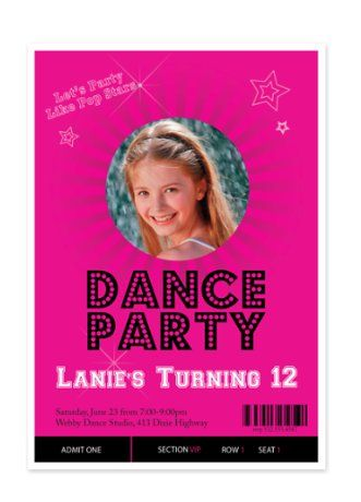 Dance Party Kid Birthday Party Invitations - PhotoCardsDirect