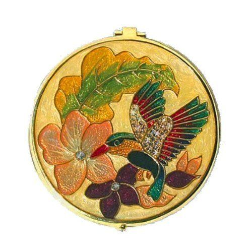 "Swarovski Crystals 24K Gold HUMMINGBIRD COMPACT MIRROR CASE 2.5"" Round Picture Dazzlers. Save 46 Off!. $37.95"