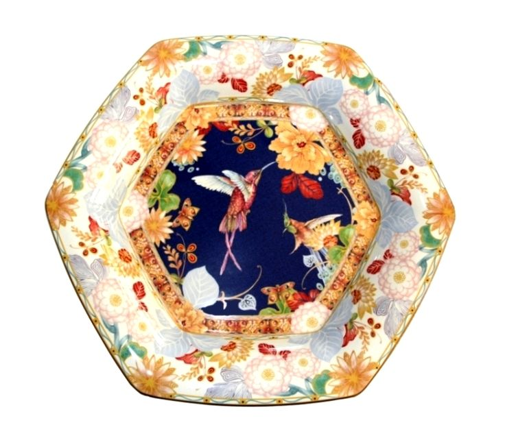Java mera tray, collectable hexagonal platter,  produced in a worldwide limited edition of 1000 pieces in 2005, by the Spode factory in England. This is  Νο 736.