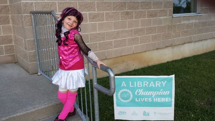 This brand new Library Champion is Hannah, from Oshawa.  Hannah was so excited about her lawn sign that she wanted to pose with it in front of her school - we love that connection! We're told that she's very proud of being a Library Champion, and so she should be.  Congratulations, Hannah - you did an amazing job this year, keep up the great work!