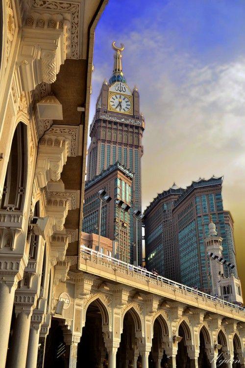 thesweetnessoffaith:  islamic-art-and-quotes:  Arches of al-Masjid al-Haram and Clock Tower Originally found on: starryeyedmariam   beautiful memories :)