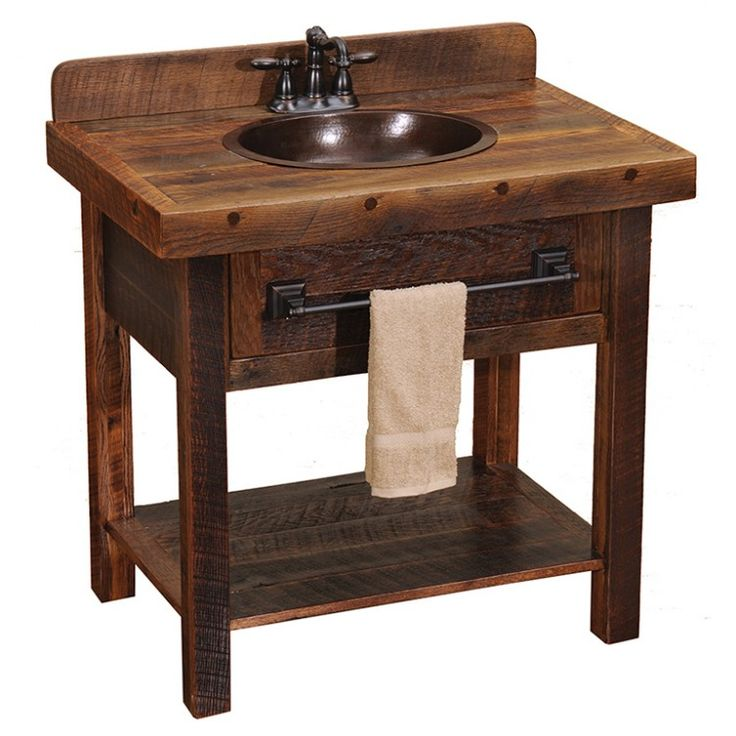 Pics Of Barnwood Open Vanity for rustic cabin Inch Bathroom
