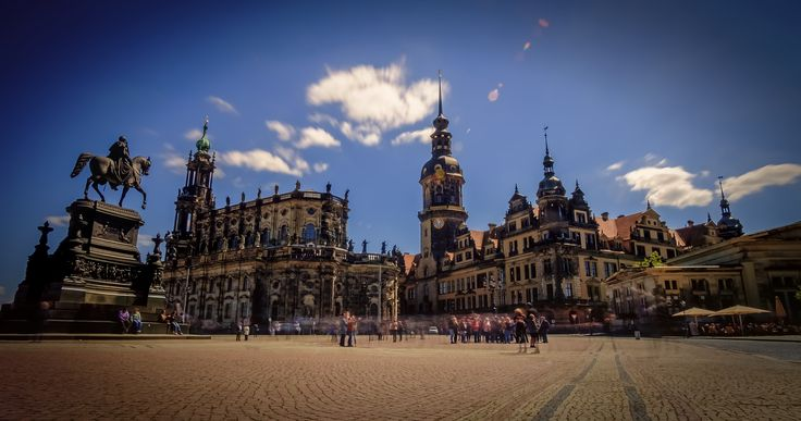 https://flic.kr/p/UmQBk2 | Dresden | From left to right: monument of king Johann von Sachsen, Cathedral of the Holy Trinity and Dresden Castle.
