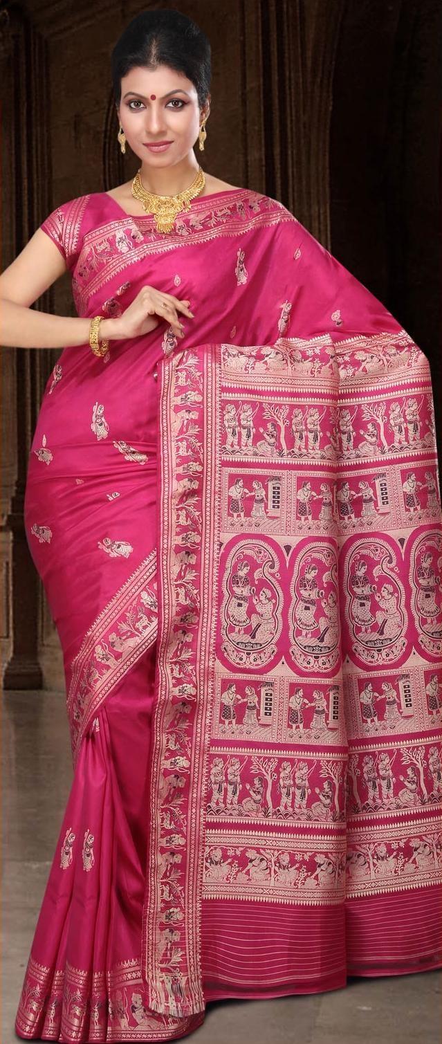 Magenta Bengal Handloom Baluchari #Silk #Saree With #Blouse @ US $177.97