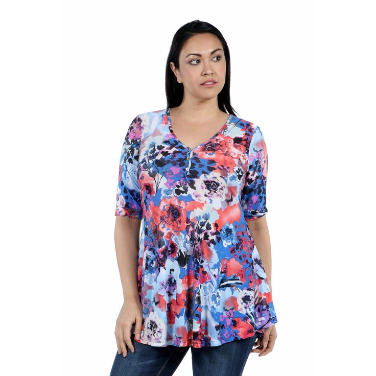 24/7 Comfort Apparel Country Club Casual Plus Size Tunic Top