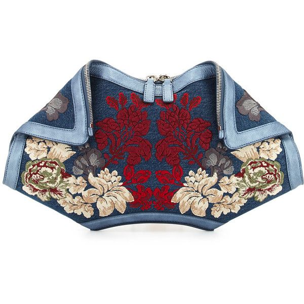 Alexander McQueen De-Manta Floral Embroidered Denim Clutch Bag (138.975 RUB) ❤ liked on Polyvore featuring bags, handbags, clutches, denim multi, alexander mcqueen handbags, alexander mcqueen purse, blue purse, fold over purse and alexander mcqueen clutches