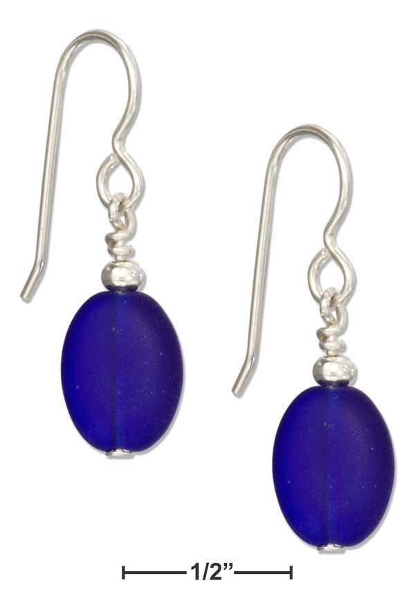 Sterling Silver Deep Midnight Blue Oval Sea Glass Earrings