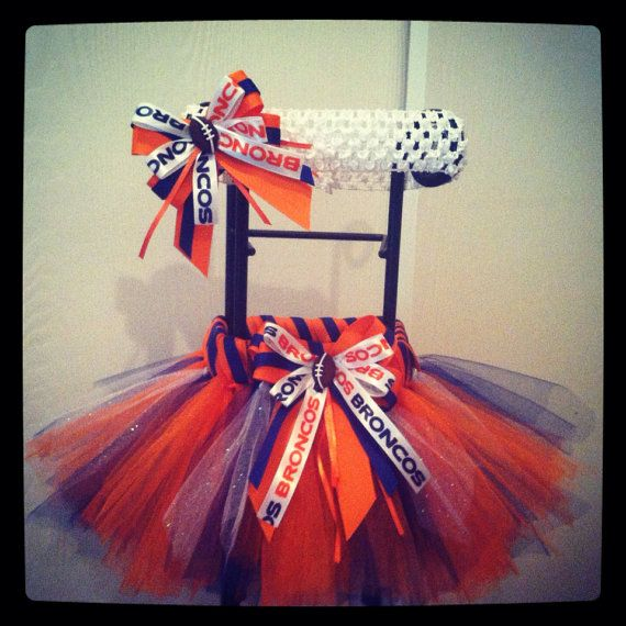 denver broncos theme tutu with matching hair bow on Etsy, $25.00