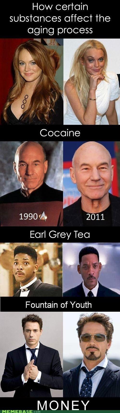 Vou bater chá Earl Grey com água da fonte da juventude e dinheiro!