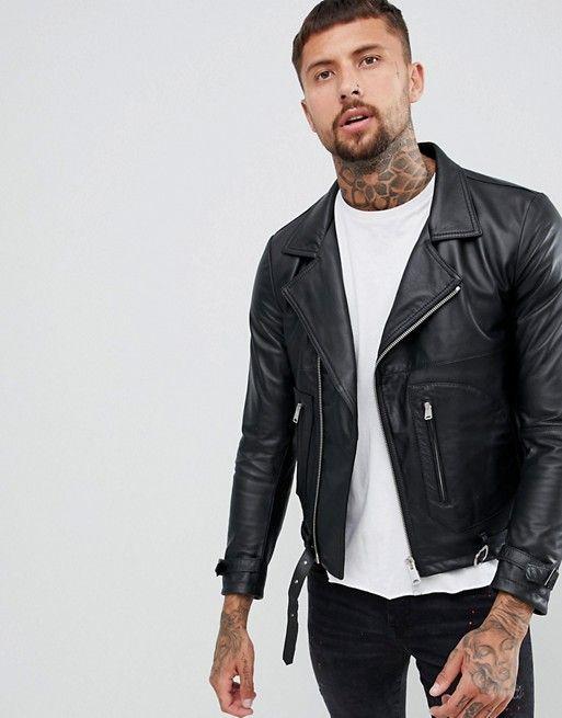 bf529c4fd Replay leather biker jacket zip detail in black in 2019 | BIKER ...