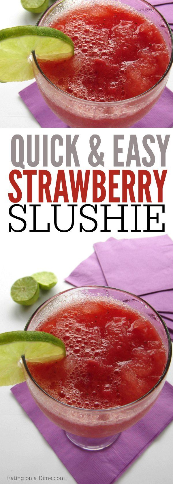 Quick and Easy Strawberry Slushie Recipe - Here is a kid friendly Summer drink that you can make in just a few minutes. Our favorite Easy Drink recipe.