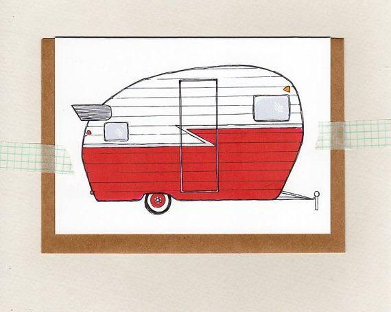 retro red caravan . card . mini print . camper . by ThePaisleyFive