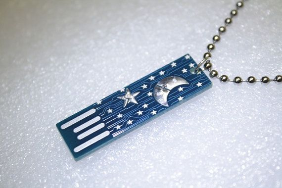 moon & stars usb circuit board with ball and chain by boardaments $12
