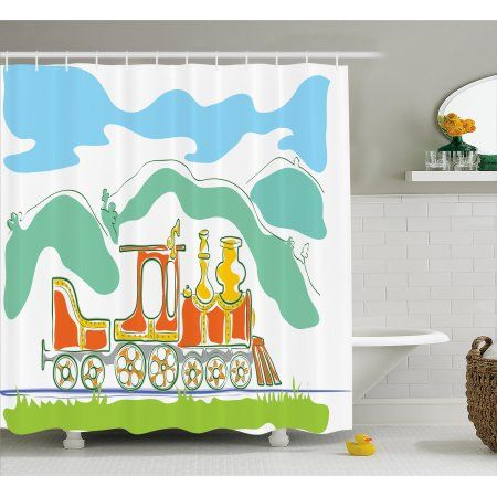 Steam Engine Shower Curtain Colorful Small Old Train Country