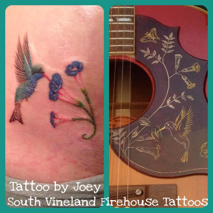 My tattoo of the pick guard of my 1968 Gibson Hummingbird. Drawn & tattooed by Joey Letizia of South Vineland's Firehouse Tattoos in Vineland, NJ.