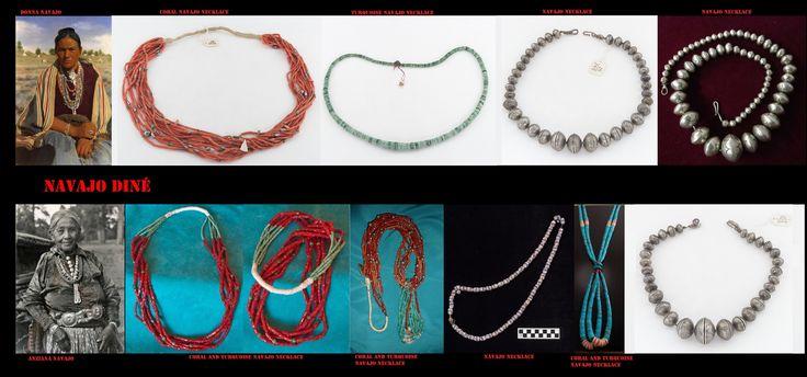 """Collane Navajo. Anche se lo stile dei gioielli Navajo è quello ispano-moresco, il simbolismo che si cela dietro questi ornamenti scaturisce dalla mitologia indigena. I Navajo hanno iniziato a lavorare l'argento solo nel 19° sec. Delgadito o """"Old Smith,"""" (c. 1828-1918) potrebbe essere stato il primo Navajo ad aver imparato il mestiere da un argentiere messicano intorno al 1853. Le pietre semi-preziose sono entrate in uso decisamente più tardi in un periodo a cavallo tra il XIX e XX sec.."""
