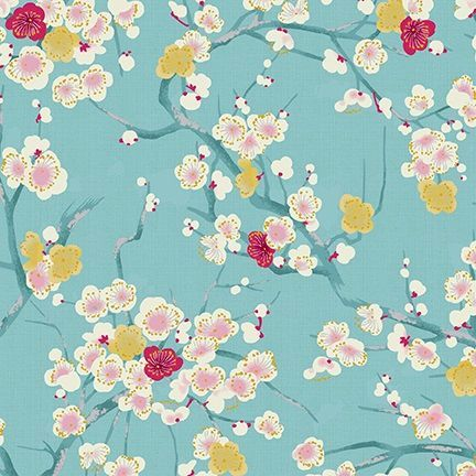4526-627 Shiki Small Flowers Pink and White on Aqua