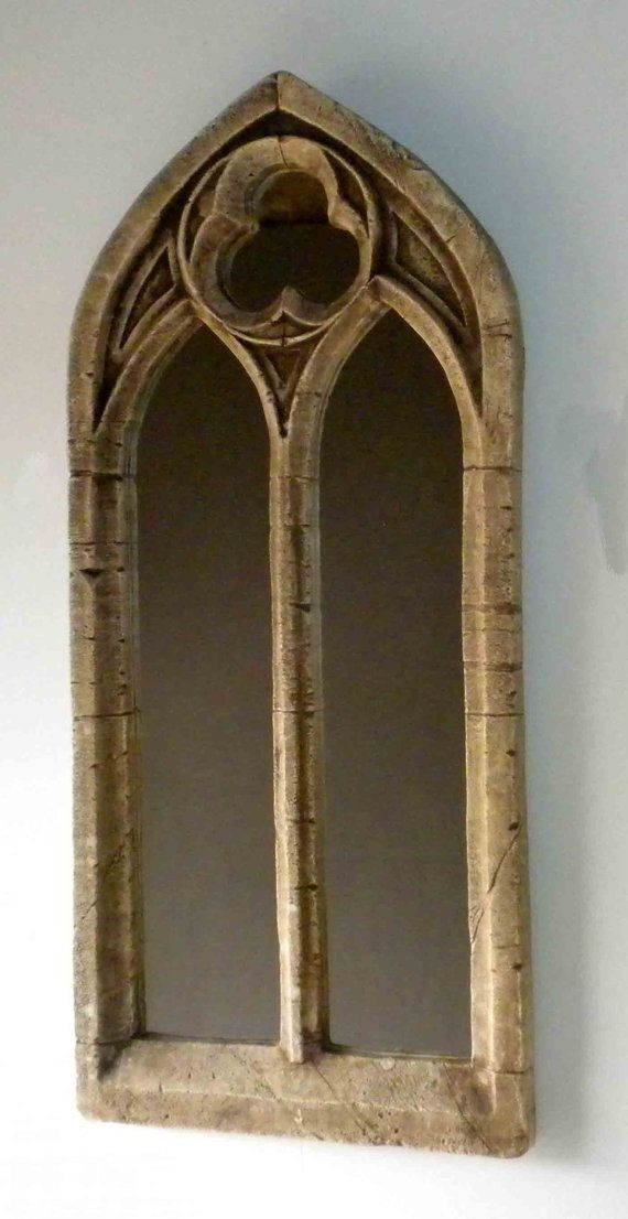 Fabulous Double Arch Gothic Church Antique Window Mirror