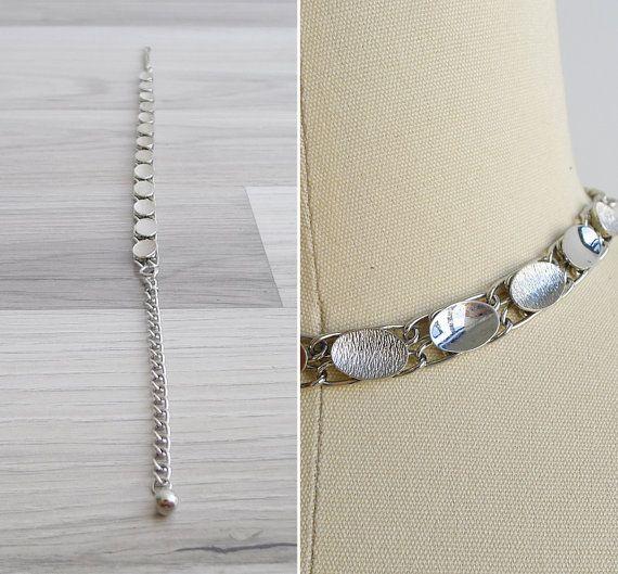 Vintage 80's Brushed Oval Silver Chain Link by fivestonesvintage
