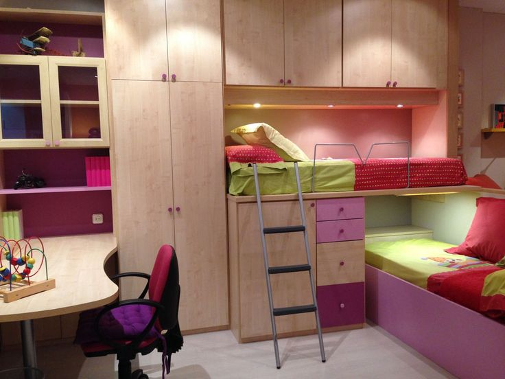 43 best images about habitaciones funcionales on pinterest - Habitacion juvenil doble ...