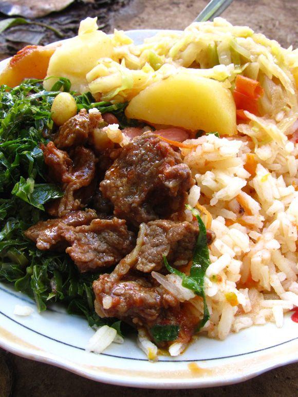 Rice, Cabbage, Sukuma, Beef Stew