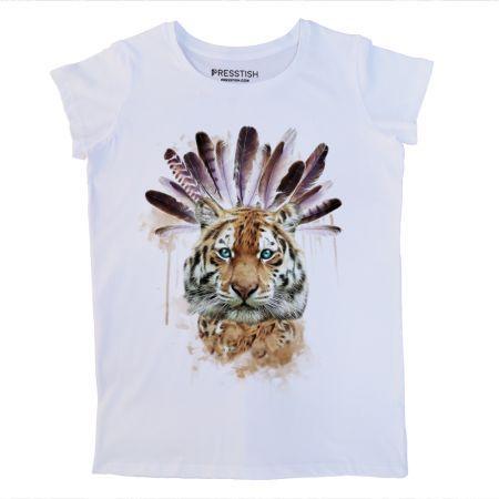 American Indian Tiger - Beyaz Kadın Tişört