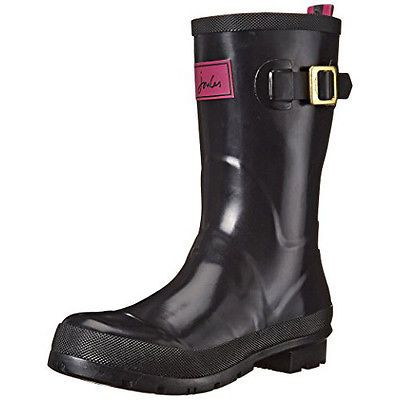 Joules Womens Kelly Welly Gloss Rain Boot, Black, 8 M US Sale