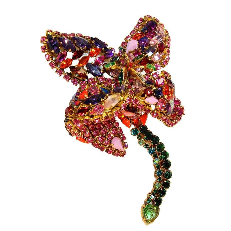 """Hanna Bernhard Paris Large 7"""" Articulated Lily Brooch Statement Piece 2011 