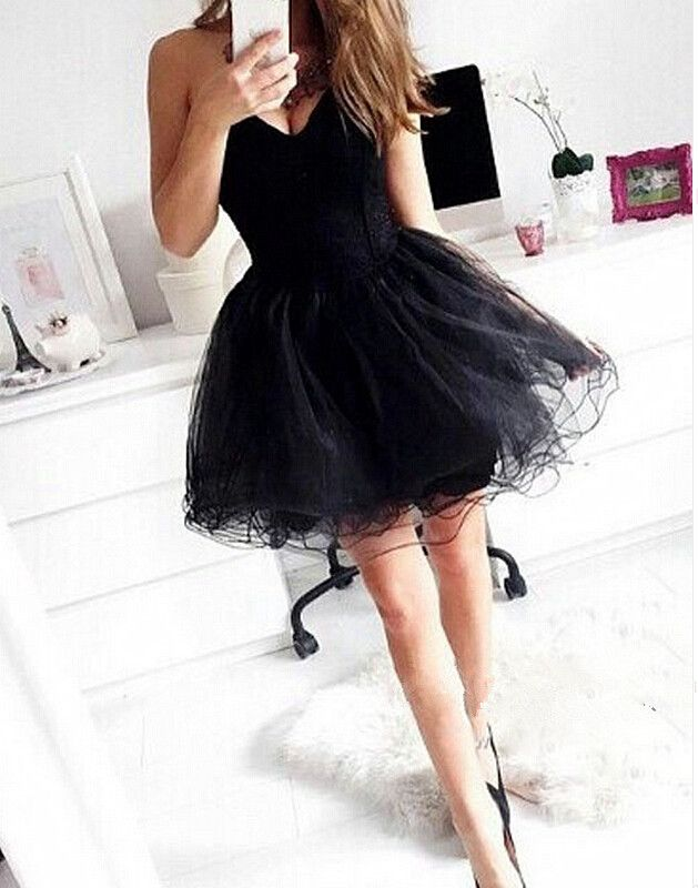 Sweetheart Neck Crystals Beaded Tulle Homecoming Dresses 2016 Lovely Black Mini Party Dresses Custom Made