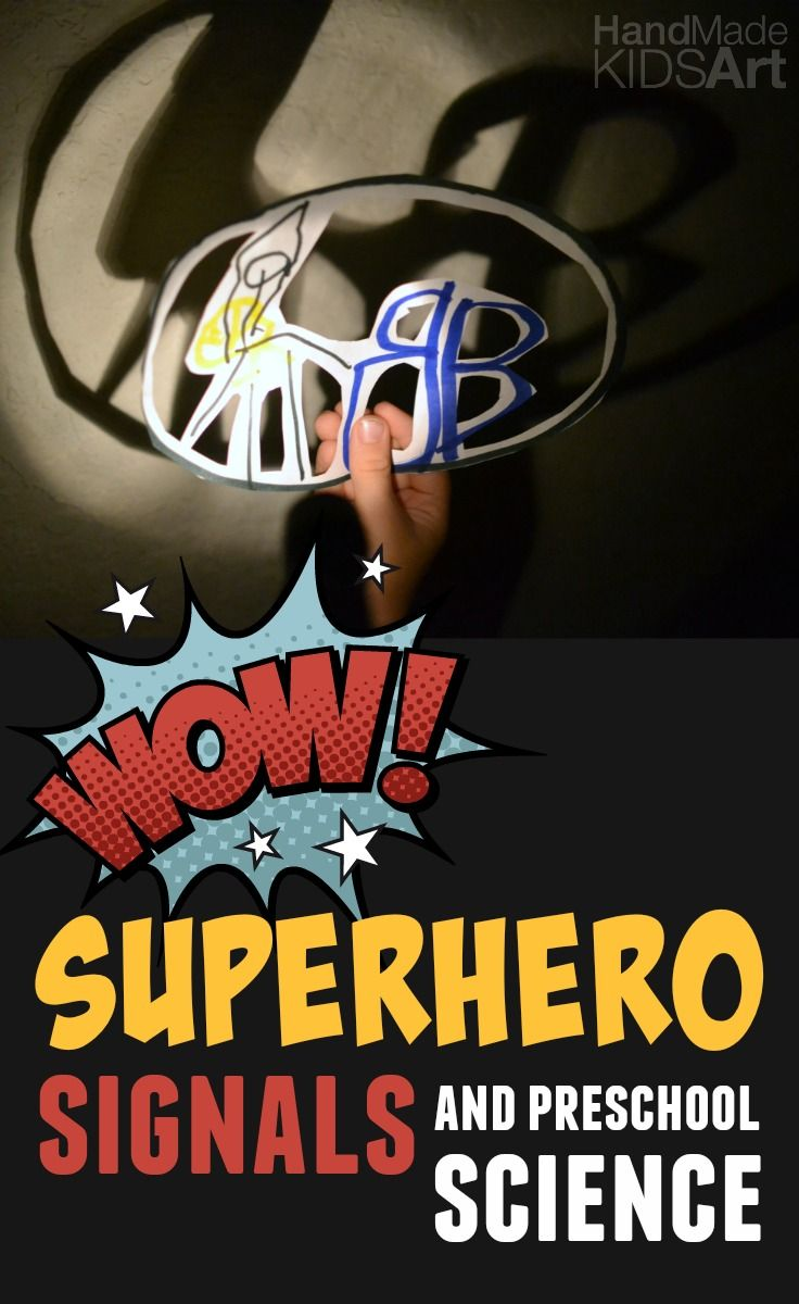 Superhero Signals and Preschool Science. Learn about light and shadows with superhero signals. Create your own superhero logo and turn it into a lighted signal. Perfect introduction for young learners in how to think like a scientist and approach science thinking with the Scientific Method. #STEAM #STEM #CREATIVEPRESCHOOLER