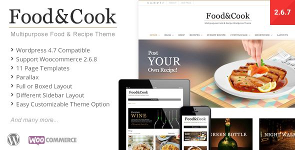 Food & Cook is your Food Blog Wordpress Theme, sharing recipes and cooking tips can't get any easier than this. With Beautiful and Clean design its a Perfect display for your food catalogue. #food #blog #design