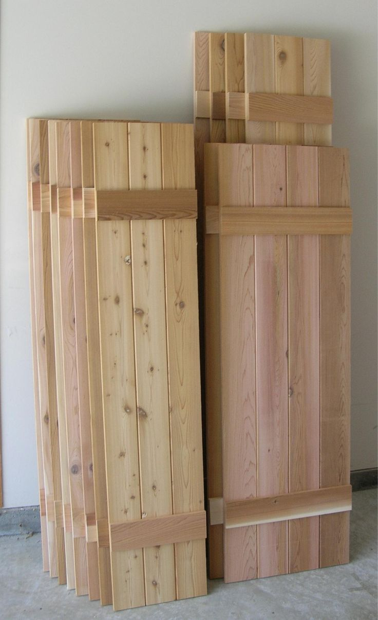 11 best images about shutters on pinterest board and batten shutters cedar shingles and diy for Unfinished wood shutters exterior